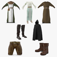 Medieval Clothes 3D Models Collection