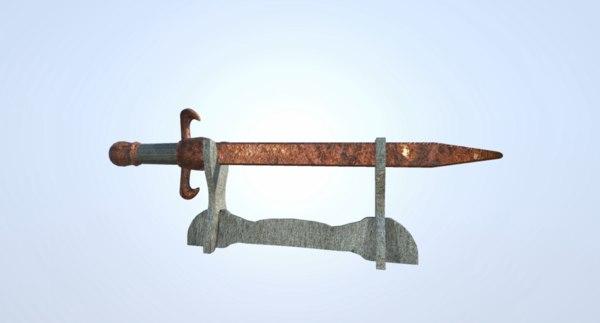 3D rusty sword model