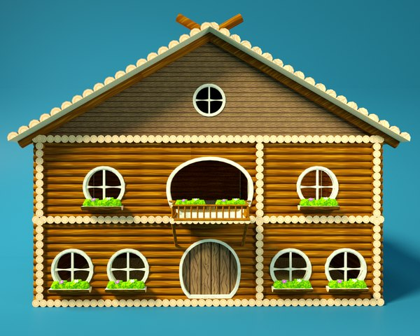 3D model cartoon wooden house school