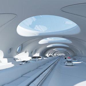 futuristic tunnel cars 3D model