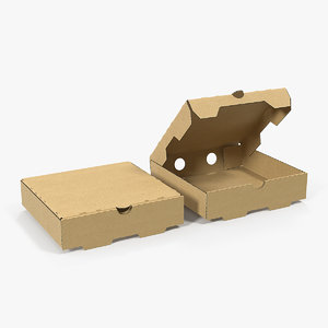 paper pizza cardboard boxes 3D model