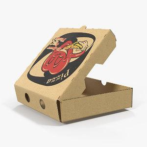 3D model small pizza box open