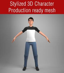 stylized cartoon male 3D model