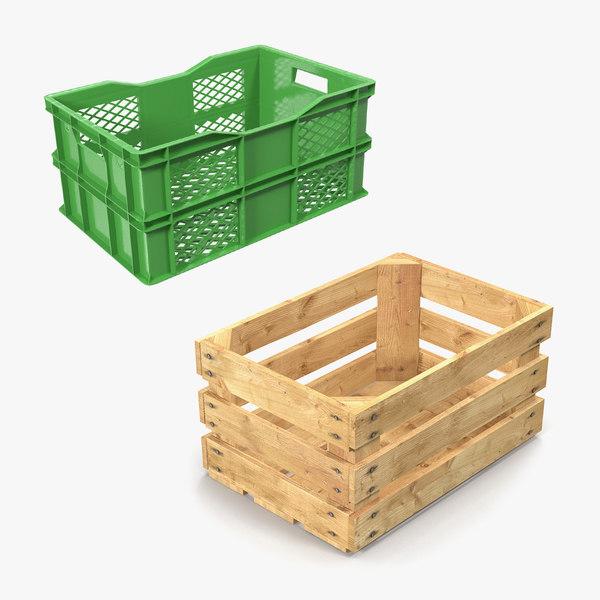 wooden plastic fruit crates 3D model