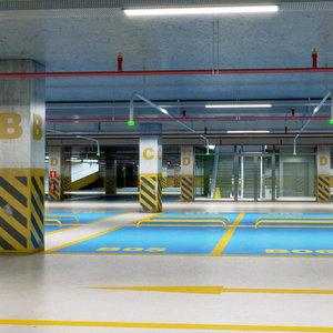 realistic underground car park 3D
