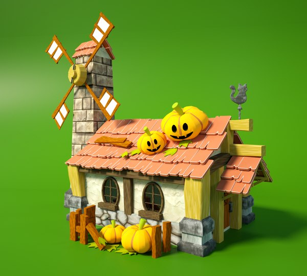 cartoon fantasy wooden halloween 3D model