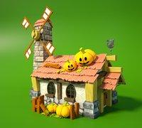 Cartoon Fantasy Wooden Halloween House with Interior