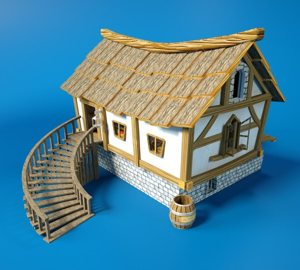3D cartoon fantasy wooden house