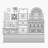 3D ornate railings set model