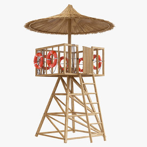 3D lifeguard tower post