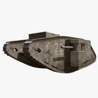 British Mark 1 Tank WW1 3D Model