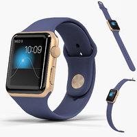 3D apple watch gold aluminum