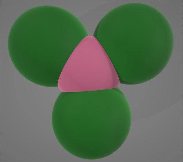 3D molecule boron trichloride bcl3