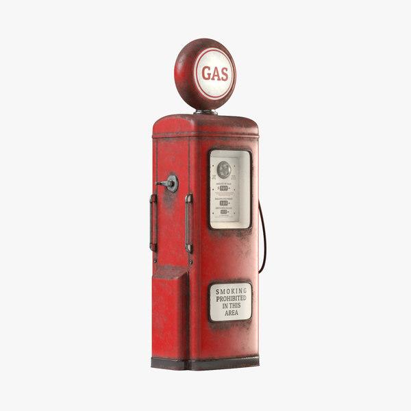 3D vintage gas pump