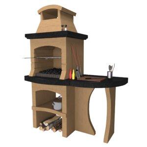 3D barbecue masonry brick