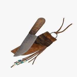 3D vintage hunting knife model