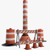 3d model traffic barrier set