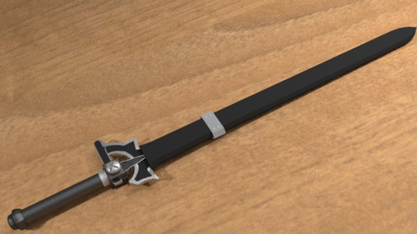 3D kirito s elucidator sword model
