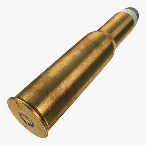 3D cartridge case bullet rifle model
