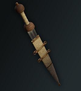 3D ancient roman gladius sword model