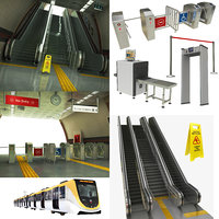 subway metro escalator 3D model