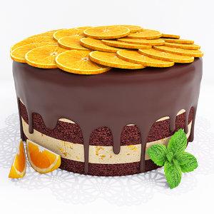 3D model orange cake