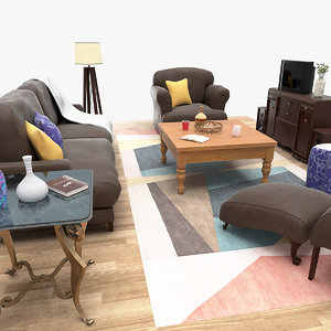 3D classic living room sofa model