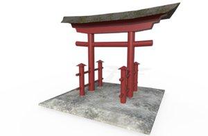 japanese tori gate 3D model