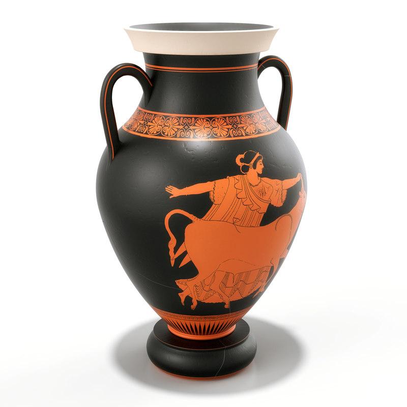 3D greek pottery amphora model