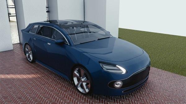 car blender eevee brandless 3D model