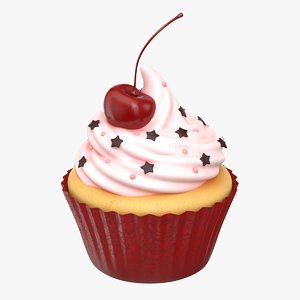 3D cupcake cherry pbr model
