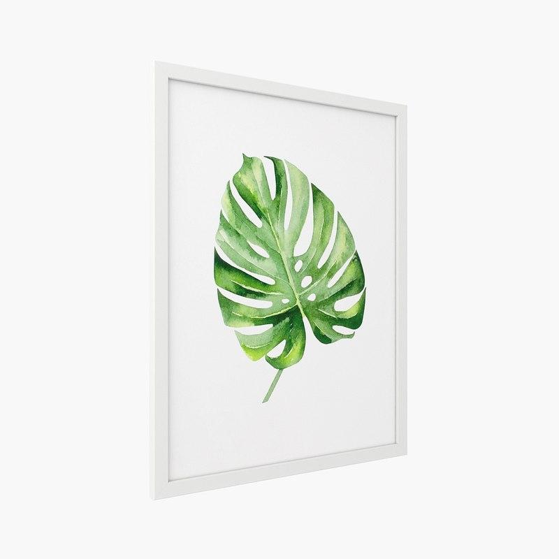 3D crate barrel - monstera leaf