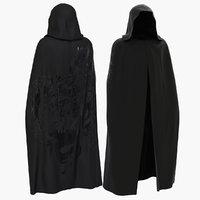 3D model black cloak long