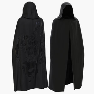 3D model black cloak long