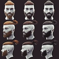 Beard and Undercut Low Poly