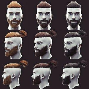 3D beard undercut model