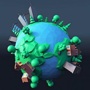 3D cartoon planet 2