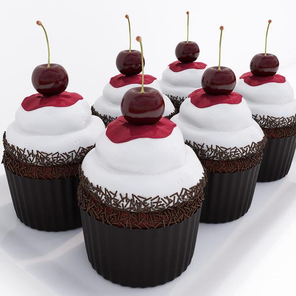 3D cherry chocolate cupcakes