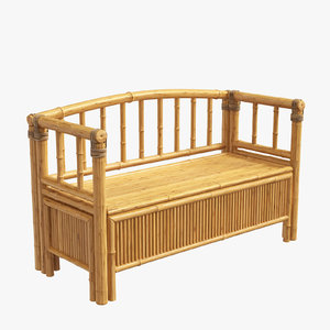 3D model bamboo furniture bench seat