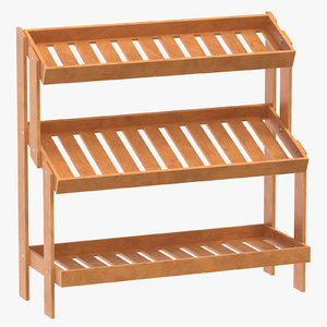 3D oak wood display rack