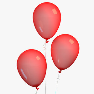 3D red balloon ribbon model