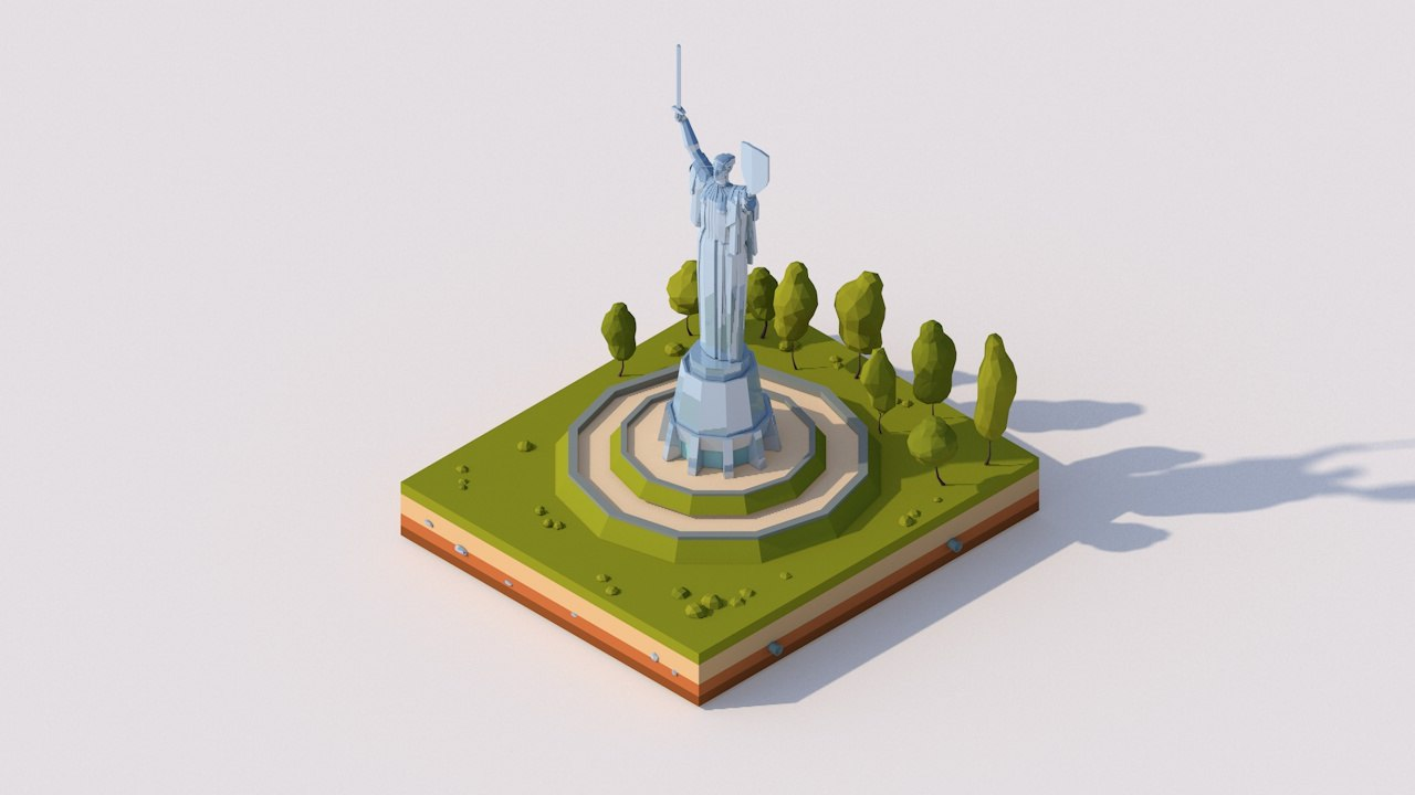 cartoon motherland monument 3D model