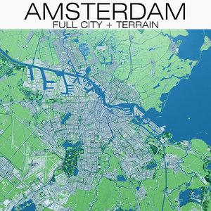 amsterdam city terrain 3D