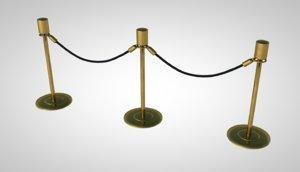 3D stanchion divider velvet model
