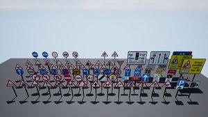 uk road sign pack model