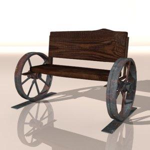 3D model old unique vintage benches