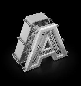 3D model designed letter gears