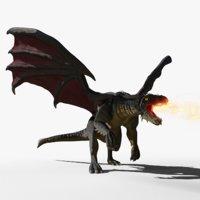 black firebreath dragon 3d blend