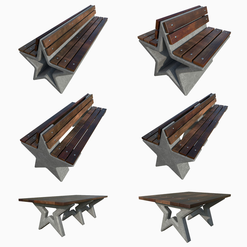 park star benches tables 3D model