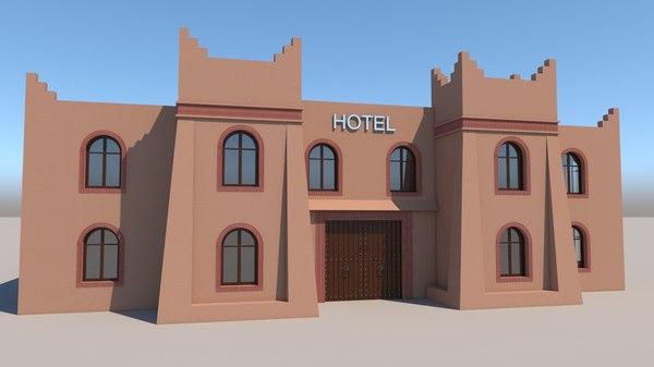 moroccan hotel kasbah style 3D model